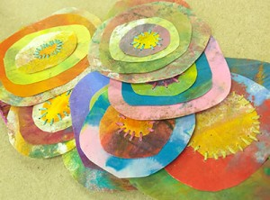 Encaustic Monotype Circles