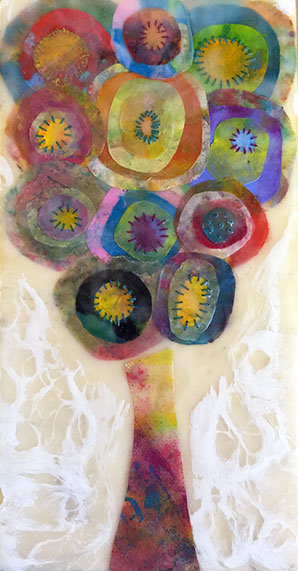 Circles of Tree Encaustic Painting
